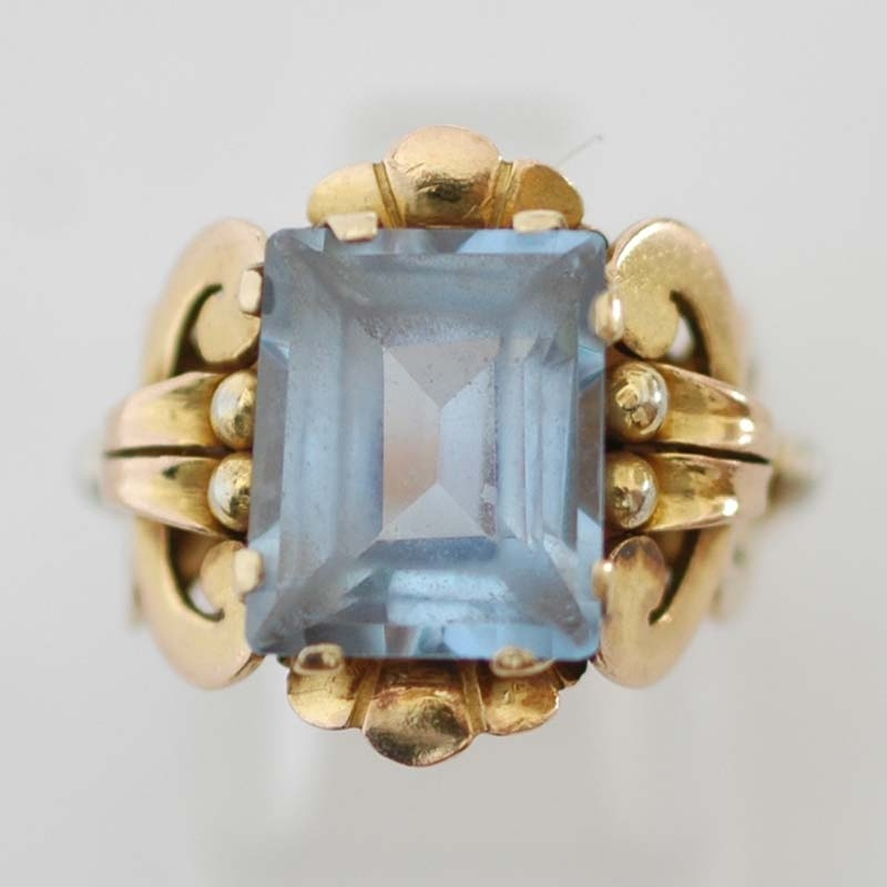 Magnifiek Retro 1940's gouden ring fraaie 18 karaat geel, rood en wit @BB95