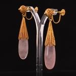 rozenkwarts-filigrain-gouden-oorhanger