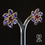 2lips-flower-tulp-amethist-rubelliet-toermalijn-oorbellen-oorstekers-ontwerper-david-aardewerk-juwelier-18k-goud-keukenhof-dutch