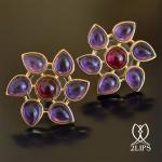2lips-flower-tulp-amethist-rubelliet-toermalijn-oorbellen-oorstekers-ontwerper-david-aardewerk-18k-goud-keukenhof-dutch-design